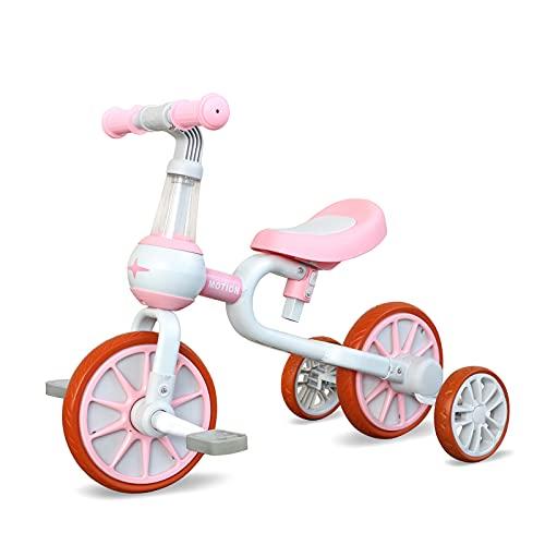 YGJT YGJT Triciclo Bebe Bicicleta Niño 1-4 Años Correpasillos de Equilibrio 3 en 1 Triciclos Bebes con Pedales con 4 Ruedas para Niños Regalos Originales Niña Cumpleaños (Rosa')