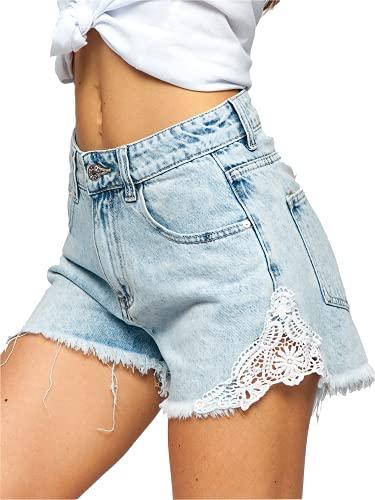 BOLF Mujer Pantalón Corto Vaquero Jeans Denim Shorts Bermudas Pantalón de Algodón Pantalón de Ocio Corto Rotos Tejano Verano Slim Fit Estilo Urbano JK687 Azul L [G7G]