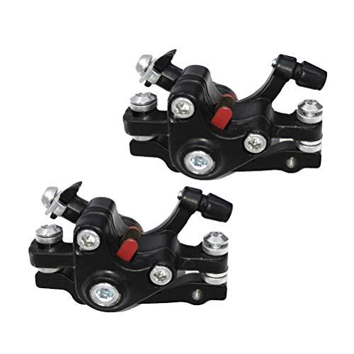 LIOOBO 2PCS / Set Frenos de Disco de Bicicleta de montaña Aleación de Aluminio Freno de Bicicleta Ciclismo Exterior Freno de Disco Delantero Calibrador mecánico (Negro + Plata)