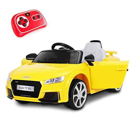 Playkin AUDI TT AMARILLO - Coche electrico niños bateria 12V con mando control +3 años juguetes...*