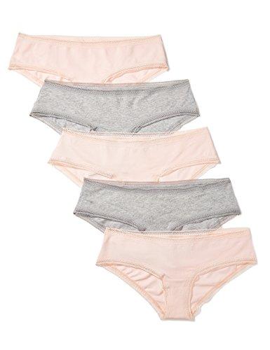 Marca Amazon - IRIS & LILLY Braguita de Algodón Mujer, Pack de 5, Multicolor (Pearl/melange), M, Label: M