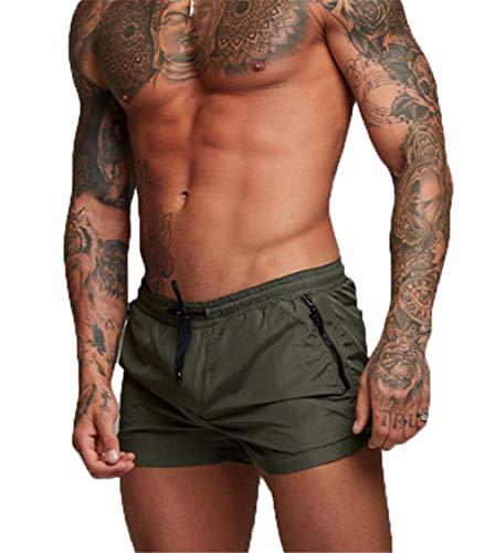 Kfnire Bañadores de natación, Pantalones Cortos de los Hombres de Secado rápido Playa Surf Corriendo Pantalones Cortos de natación Boxeadores Ligero Shorts (EU L=Tag XL, Verde)