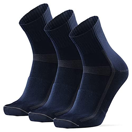 DANISH ENDURANCE Calcetines Deportivos Quarter para Ciclismo 3 pares (Azul Oscuro, EU 35-38)