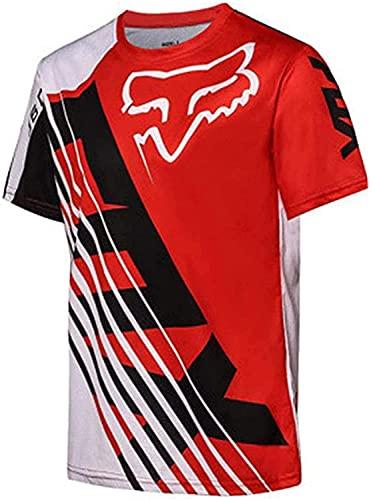 Maillot Ciclismo De Manga Corta para Hombre, Camisetas De Ciclismo Transpirables De Secado Rápido (Rojo,XS)