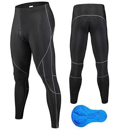 JEPOZRA Pantalones de Ciclismo de Invierno para Hombre, Largos con Acolchado de Gel 4D, para Bicicleta de montaña, Transpirables, de compresión, térmicos, Pantalones Deportivos (Negro, L)