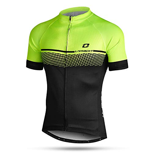 LAMEDA Maillot Ciclismo Hombre Ropa Camiseta Bicicleta MTB con Mangas Cortas(Verde-L)