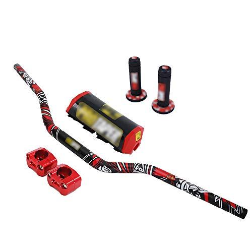 AnXin - Manillar de 28 mm + abrazadera elevadora + almohadilla + empuñaduras para motocicleta...*