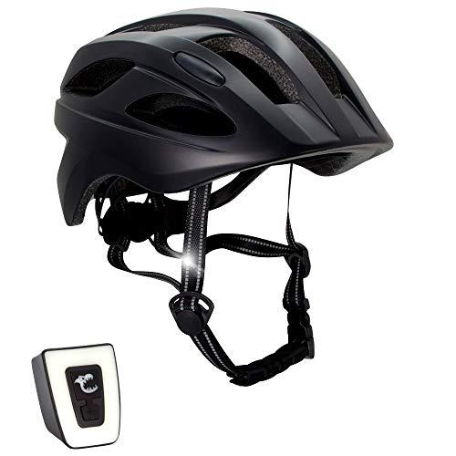 Casco de bicicleta para niños ajustable de tamaño infantil a juvenil   Tamaño 54-58   Precioso casco de bicicleta para niños y niñas   Luz LED incorporada recargable   Tiras reflectantes   CE