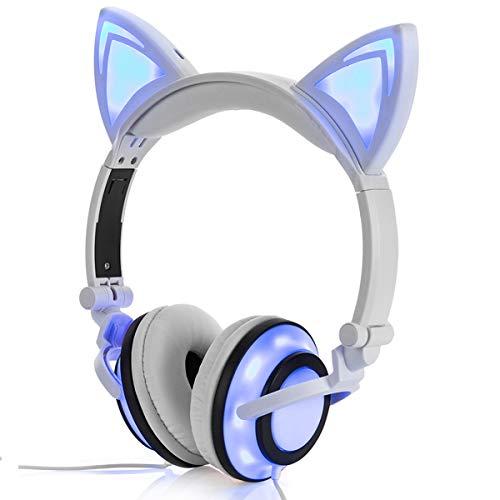 Auriculares Plegables y Recargables para Niños con Limitación de Volumen de Oreja de Gato Headset...*