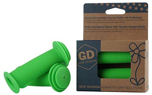 Puños para bicicleta para niños con protección de impacto de seguridad de GD Grip Division , color verde neón, tamaño 100 x 43 mm, 0.13