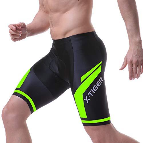 X-TIGER Hombres Ropa Interior de Bicicleta con 5D Gel Acolchado MTB Ciclismo Pantalones Cortos-Negro (Verde Pantalones Cortos, XL)