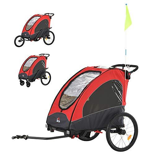 HOMCOM Remolque Infantil 3 en 1 para Bicicleta Carrito para Correr de 2 Plazas para Niños de +6...*