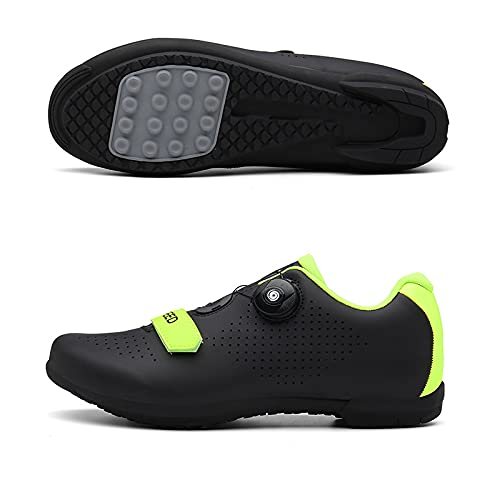 WYUKN Zapatillas de ciclismo antideslizantes, sin bloqueo para bicicleta de carretera y montaña, para hombres y mujeres, suela de goma, color negro 44EU