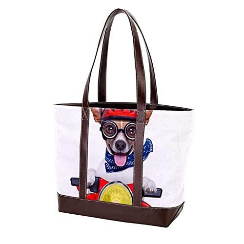 NaiiaN Divertido perro feliz en bicicleta con casco Bolsos de mano Monedero Bolso de mano Bolsos de...*