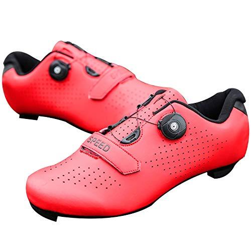 Zapatillas de Ciclismo de Carretera para Hombre Zapatillas de Ciclismo con Tacos Zapatillas de Pelotón Compatibles con SPD y Delta para Zapatillas de Ciclismo (Red,EU39-UK6)