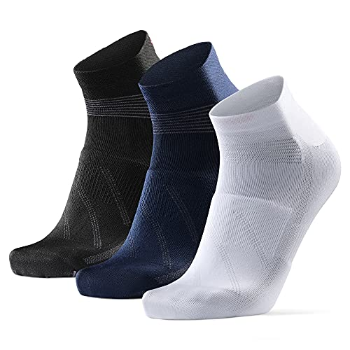 Calcetines de Ciclismo de Corte Bajo, para Hombres y Mujeres, paquete de 3 calcetines de bicicleta transpirables(De Varios Colores - 3 Pares (1 x Blanco, 1 x Negro, 1 x Azul), EU 39-42)