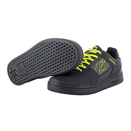 O'NEAL   Zapatillas de Bicicleta   MTB Downhill Freeride   Equilibrio Entre Agarre y posición del pie, Suela de Panal   Zapato de Pedal Plano con Clavos   Adultos   Negro Neón Amarillo   Talla 45