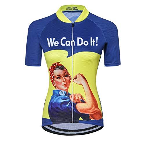 Maillot de Ciclismo para Mujer con Cremallera Manga Corta Ropa de Ciclismo de Carretera Equipo Profesional de Carreras BTT para Mujer Ropa de montaña Transpirable Amarillo y Azul XL