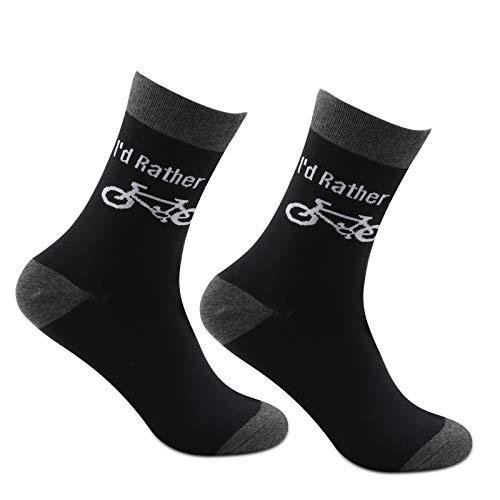 Calcetines divertidos para ciclistas, regalo de 2 pares, con texto en inglés 'I d rather be biking Socks regalo para mountain Biker novedad ciclismo regalos