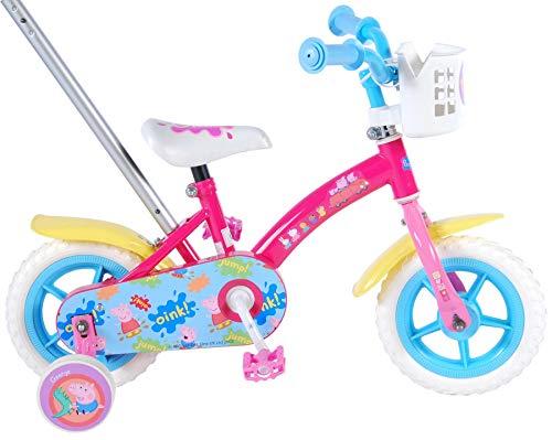 Peppa Pig Bicicleta para niña con caña de Empuje, Niñas, Fucsia, 10'
