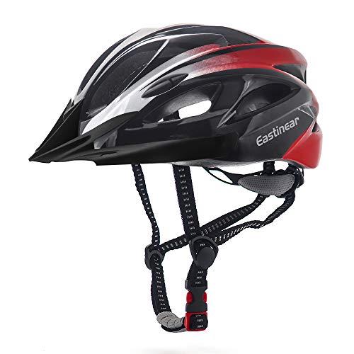 EASTINEAR Casco Bicicleta con Visera para Hombre Adulto Mujer Casco Bicicleta con Luz de Seguridad LED Cascos Ciclismo de Montaña y Carretera Tamano Ajustable M/L 22.8-24.4in (Negro Rojo)