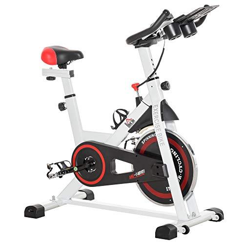 HOMCOM Bicicleta Estática Bicicleta de Fitness Pantalla LCD Asiento y Manillar Ajustable Resistencia Regulable Carga 100kg 103x53x110-114 cm Acero Blanco