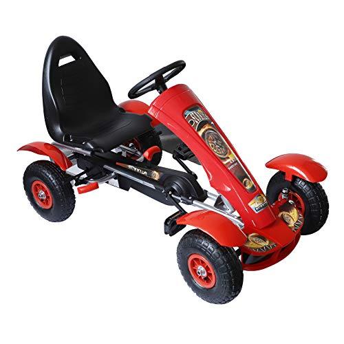 HOMCOM Coche de Pedales Go Kart Racing Deportivo con Asiento Ajustable Embrague y Freno para Niños...*