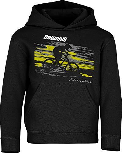 Sudadera con Capucha: Downhill Adrenaline - Pulóver para jóvenes Ciclistas Regalo Niños Niño Niña Bicicleta Bici BTT MTB BMX Mountain-Bike Deporte Sport Outdoor Cumpleaños Navidad Hoodie (128)