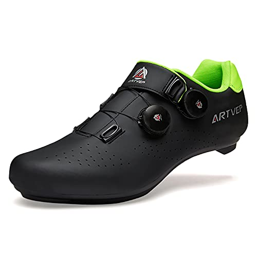 Zapatillas de Ciclismo para Hombre Zapatillas de Bicicleta de Carretera para Mujer compatibles con Look SPD SPD-SL Delta Cleats Zapatillas de Spinning para Interiores Exteriores Negro245