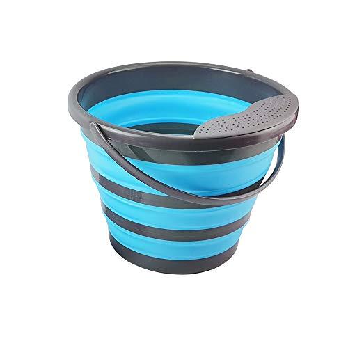 Cubo plegable de silicona de 10 litros, cubo plegable de 10 l, cubo de limpieza de silicona para limpieza, camping, pesca, cocina (10 L, azul)