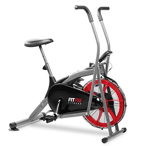 FITFIU FITNESS BELI-150 - Bicicleta elíptica con resistencia de aire cross training, con sillín regulable y pantalla LCD multifunción, Máquina fitness para entrenamiento de resistencia y cardio