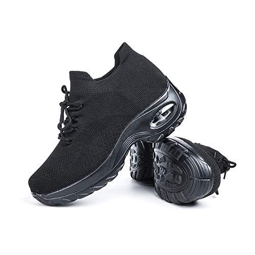 Zapatillas Deportivas de Mujer Zapatos Running Fitness Gym Outdoor Sneaker Casual Mesh Transpirable Comodas Calzado Negro Talla 38