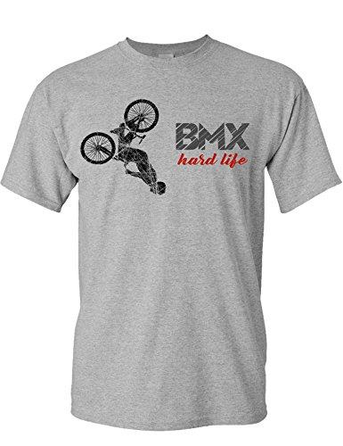 Camiseta de Bicileta: BMX Hard Life - Regalo para Ciclistas - Bici - BTT - MTB - Mountain-Bike - Downhill - Regalos Deporte - Camisetas Divertida-s - Ciclista - Retro - Fixie-Bike Shirt (M)