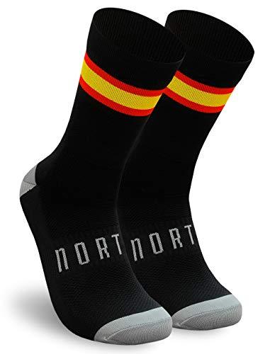 NORTEI - Calcetines Bandera España para Ciclismo, MTB y Running de Meryl para hombre y mujer – Spain (M, Negro)