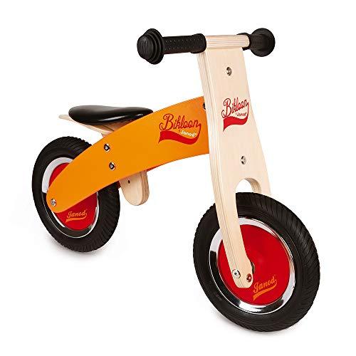 Janod - Little Bikloon Mi Primera Bicicleta sin Pedales, Madera, Amarillo/Rojo (J03263)