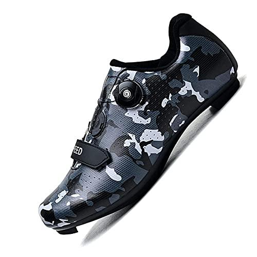 KUXUAN Zapatillas de Ciclismo para Hombre - Zapatillas Profesionales de Competición Al Aire Libre SPD y MTB Lock,Black-39EU