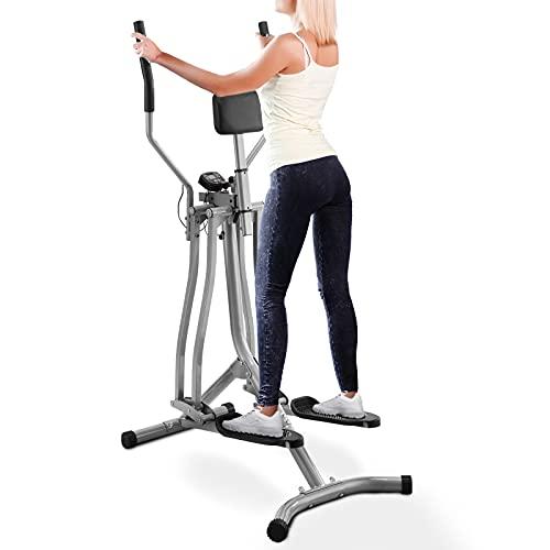 Physionics Bicicleta Elíptica - con Pantalla LCD, Pulsómetro y Soporte Abdominal, de Acero - Cross-Trainer, Máquina de Correr, Air Walker, Caminador, Stepper