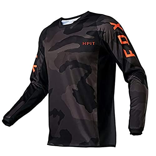 Mountainbike-Trikot Für M? Nner Fox, Fahrrad Trikots Camiseta de Motocross BMX Racing, Motocicleta Equipo de Descenso Camiseta de Locomotora de Bicicleta Cross Country Mountain Bike Hombres, 3XL