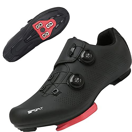 TFNYCT Zapatilla de Ciclismo Hombre Bicicleta Carretera MTB Tacos Respirables Mountain Interior Zapatillas de Ciclismo (Negro 206, Numeric_45)