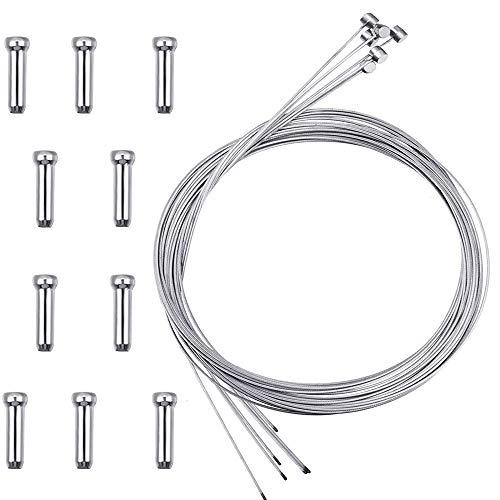 CTRICALVER Cable Freno Bicicleta, 6 pcs Cable de Freno de Bicicleta de Montaña, con 10 Piezas Tapa de Cable de Freno, Utilizado en Bicicletas de montaña