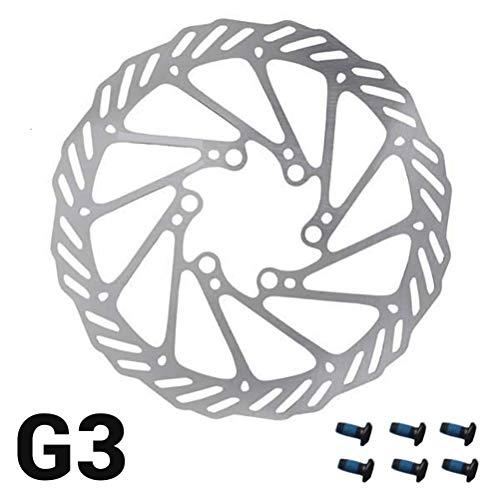 MeiLiu Rotor de Bicicleta de 180 mm, Freno de Disco de Acero Inoxidable con 6 Pernos, Adecuado para la mayoría de Las Bicicletas (G3)