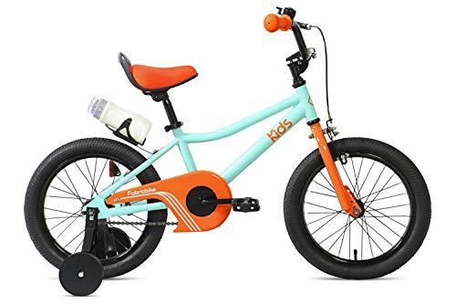 FabricBike Kids - Bicicleta con Pedales para niño y niña, Ruedines de Entrenamiento Desmontables, Frenos, Ruedas 12 y 16 Pulgadas, 4 Colores (Aqua & Orange, 16': 3-7 Años (Estatura 96cm - 120cm))