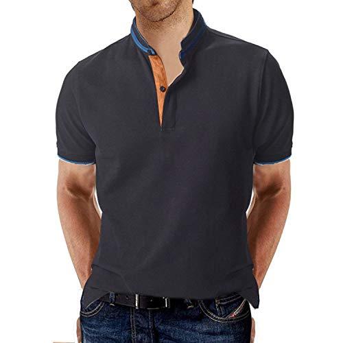 STTLZTM Hombre Polo Manga Corta Collar Henley Camisa Golf Camisa Color Sólido,Azul,XL