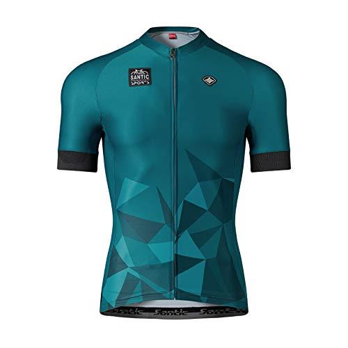 Santic Maillot Ciclismo Hombre Maillot Bicicleta con Mangas Cortas Camiseta Ciclismo Verano Verde EU L