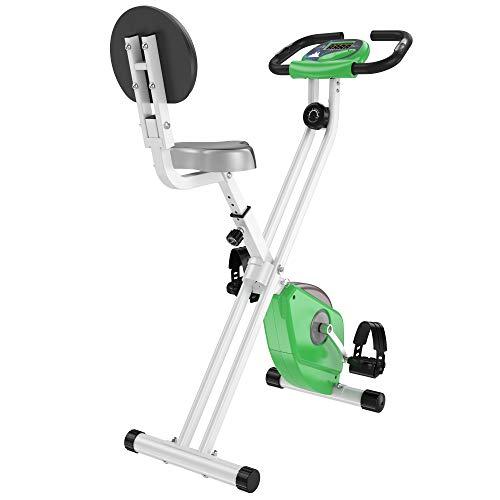 HOMCOM Bicicleta Estática para Ejercicios Profesional Bicicleta Vertical Plegable de Forma X con 8 Niveles Resistencia Magnética Asiento con Altura Ajustable Acero 43x97x109 cm Verde