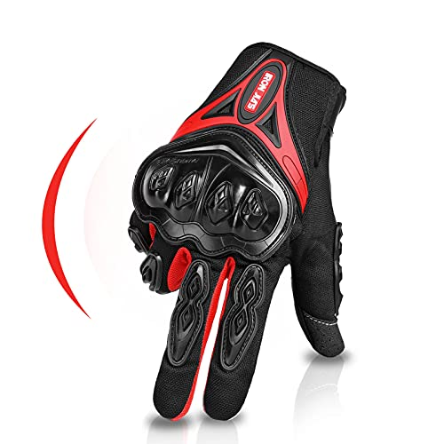 Guantes de Motos Par Guantes Dedo Completo PU Proteccion para Moto Bici Motocicleta Motorista Puede Pantalla táctil