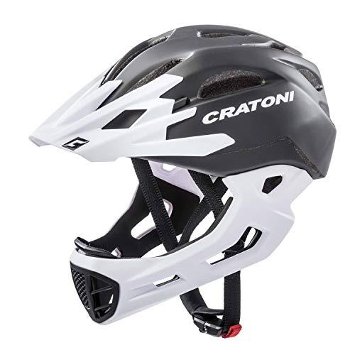 Cratoni C-Maniac Casco de Bicicleta, Unisex Adulto, Negro, Blanco Mate, Large/Extra-Large
