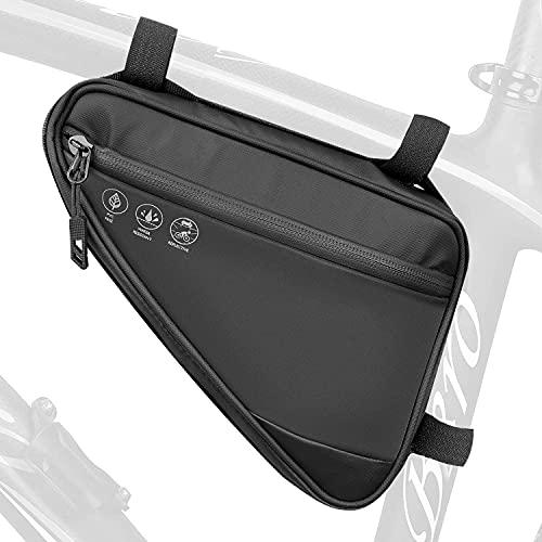 WOTOW Bolsa de triángulo de Bicicleta, Bolsas de Cuadro Negras (1L) (Negro)*