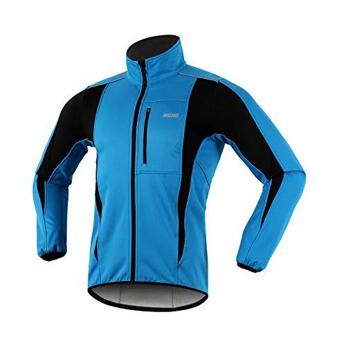 ARSUXEO de Ciclismo Chaqueta de Bicicleta Transpirable térmica de Invierno para Hombre 15K Azul L*