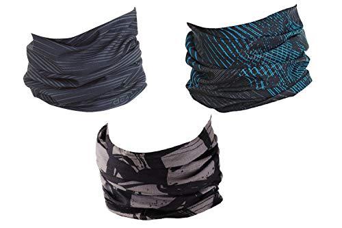 Hilltop 3 x Banda deportiva multifunción para exteriores pañuelo para la cabeza resistente a los rayos UV para ciclismo, pesca, correr, etc. / Juego de 3, Grey Best Selection